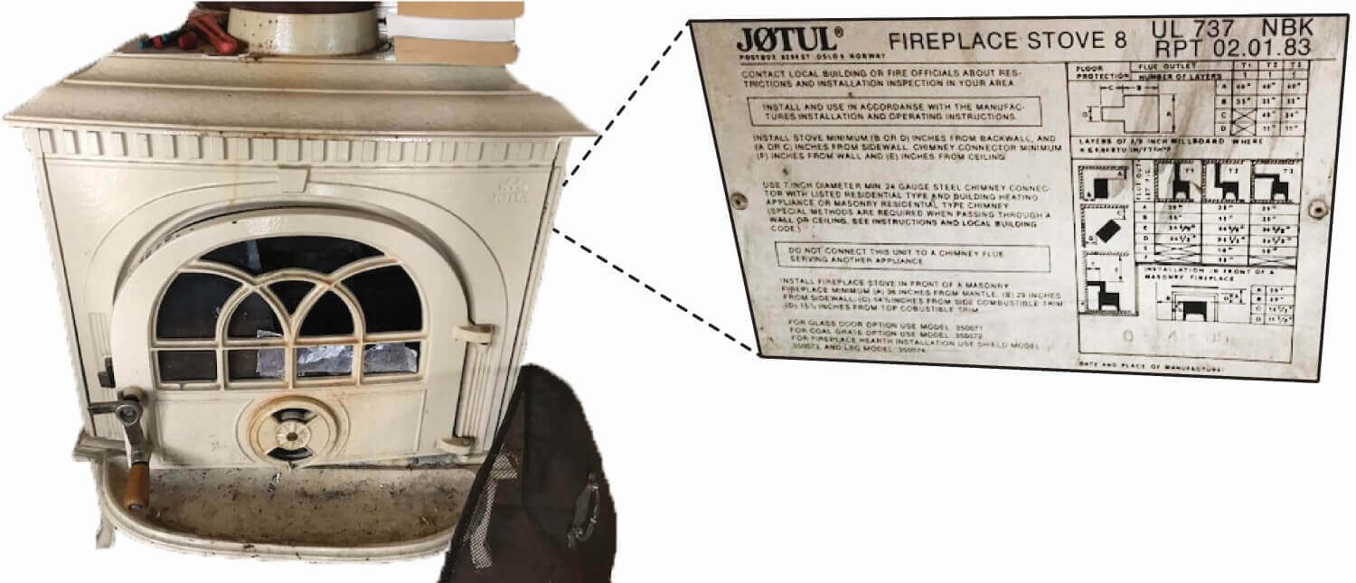 Jotul stove zoomed back plate with model